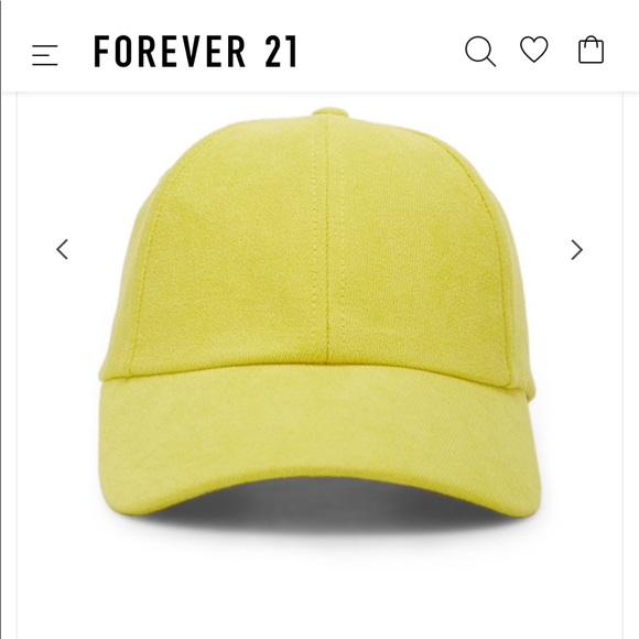 Forever 21 Accessories - Yellow velveteen baseball cap 💫